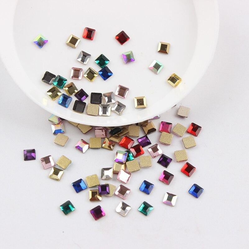 Все смешанные цвета, 30 шт, стразы для дизайна ногтей, сделай сам, без горячей фиксации, стеклянные камни для ногтей, драгоценные камни для 3D украшения для ногтей - Цвет: 3mm Square