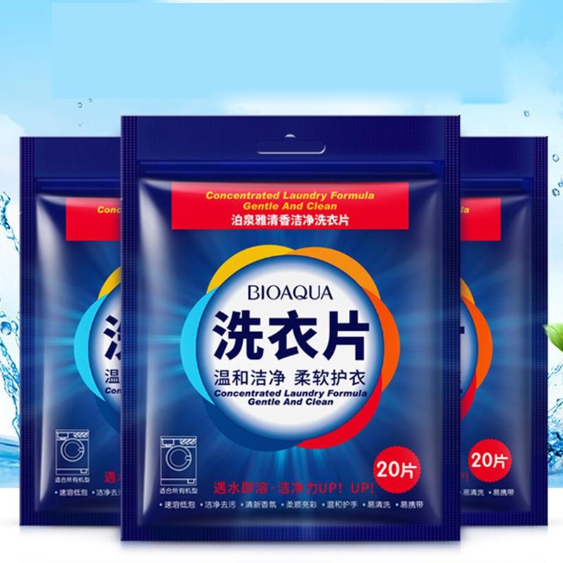 20 Pcs New Formula Detergent Powder Mild Detergent Tablets Portable Travel Laundry Detergent Laundry Cleaning Products
