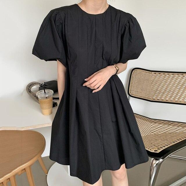 [EWQ] 2021 New Summer Women Vintage Loose High Waist Slim Was Thin Elegant Folds Puff Sleeve O-neck Mini Dress ZA4580 4