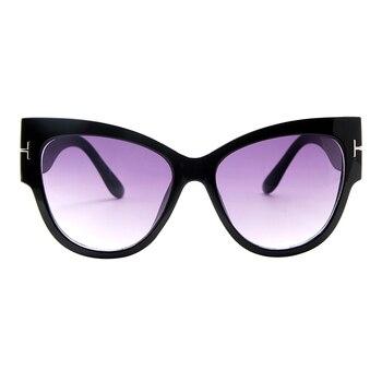 2019 New Fashion Brand Designer Tom Cat Eye Sunglasses Women Oversized Frame Vintage Sun Glasses oculos de sol UV400 - C1