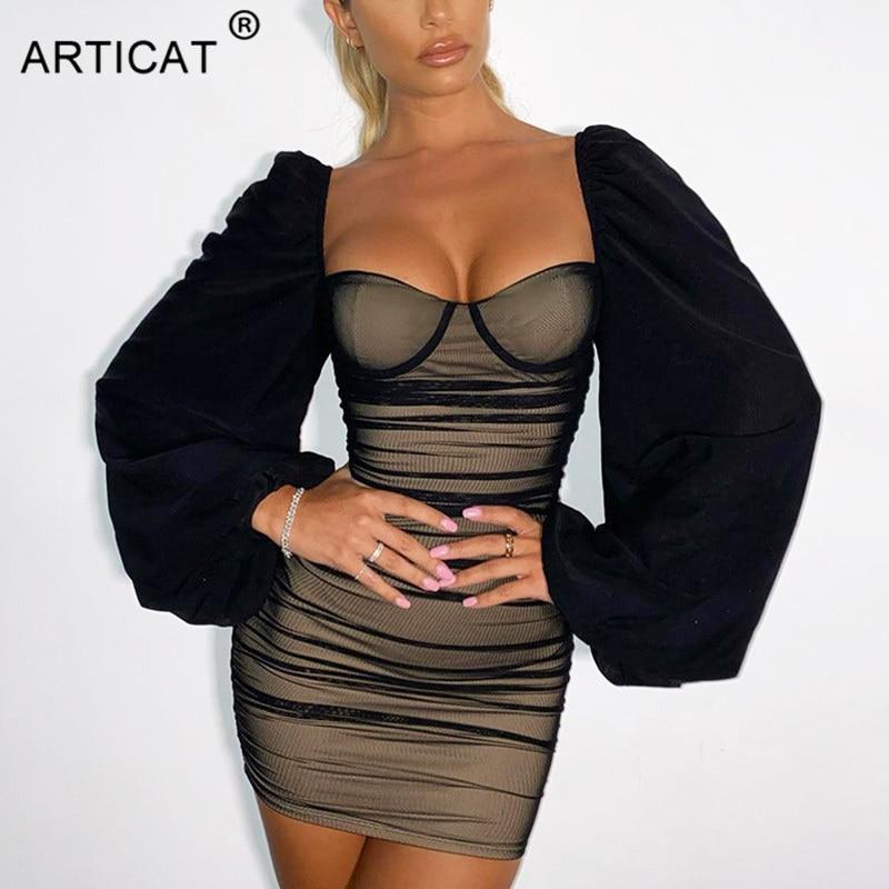 Articat New Lantern Sleeve Mini Dress Women Sexy Black Strapless Party Club Wear 2021 Fashion Ladies French Romantic Vestidos|Dresses| - AliExpress