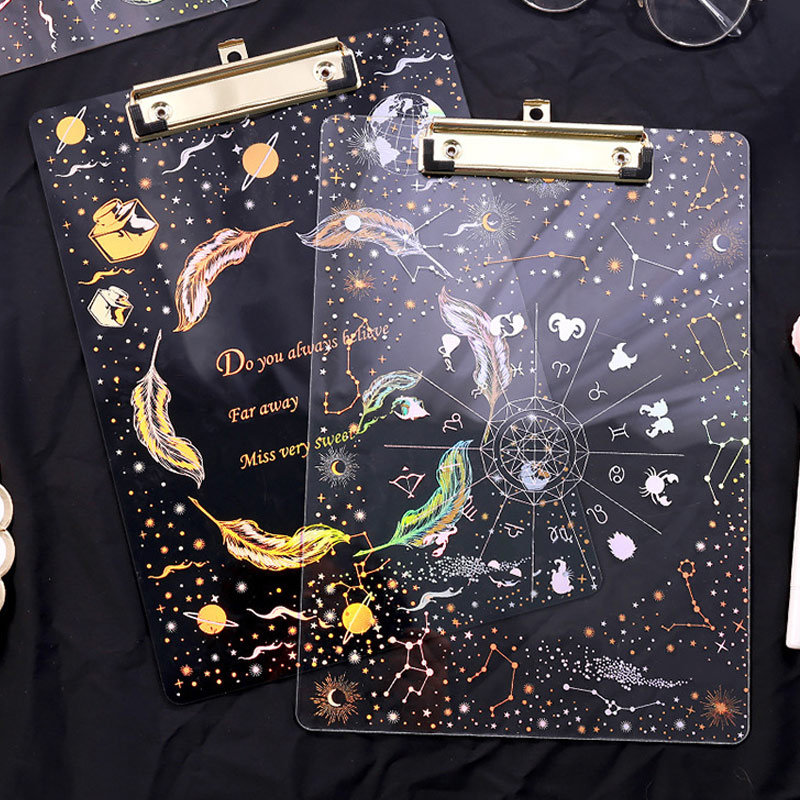 A4 Clipboard A4 File Holder Writing Pads Backing Board Starry Sky Pattern Office Supplies Filing Student Acrylic Stationery