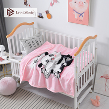 Liv-Esthete Cartoon Panda Baby Blanket Pink Kids Flannel Active Printing Throw Portable Travel Cover For Mom Dad