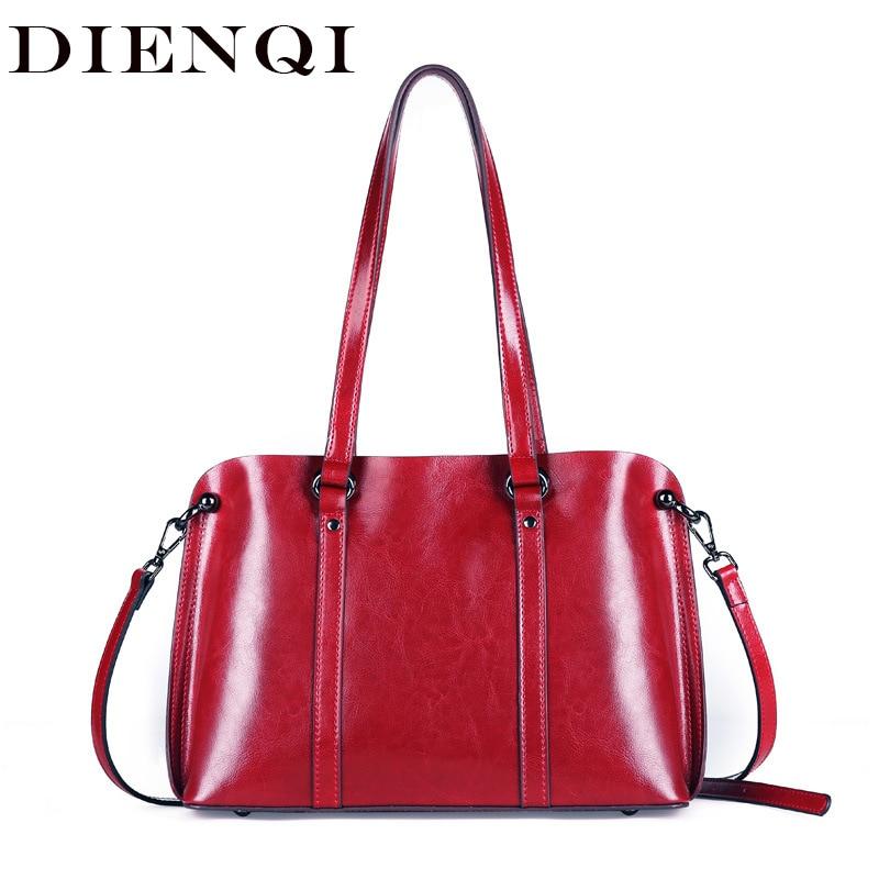 DIENQI Saffiano bags ladies genuine leather shoulder bag female  luxury women Real leather handbags big Boston messenger bags  redShoulder Bags
