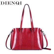 DIENQI Saffiano borse delle signore del cuoio genuino del sacchetto di spalla femminile delle donne di lusso borse in Vera pelle grande Boston borse a tracolla rosso