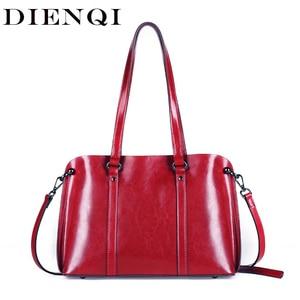 Image 1 - Dienqi saffiano sacos senhoras couro genuíno bolsa de ombro feminino luxo bolsas de couro real grande boston messenger bags vermelho