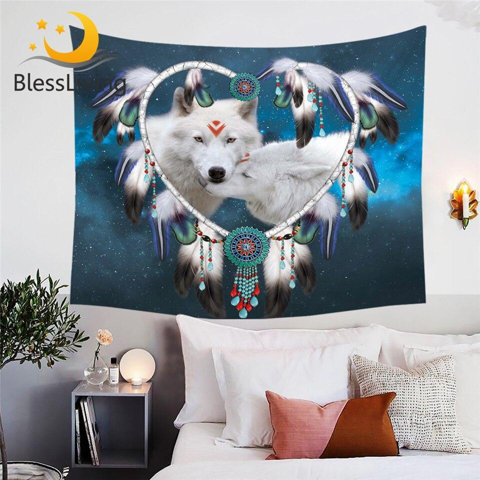 Blesslife пара волков гобелен Волчья стена ковер Племенной животное галактика Декор на стену сердце Ловец снов постельное белье Гобелен      АлиЭкспресс