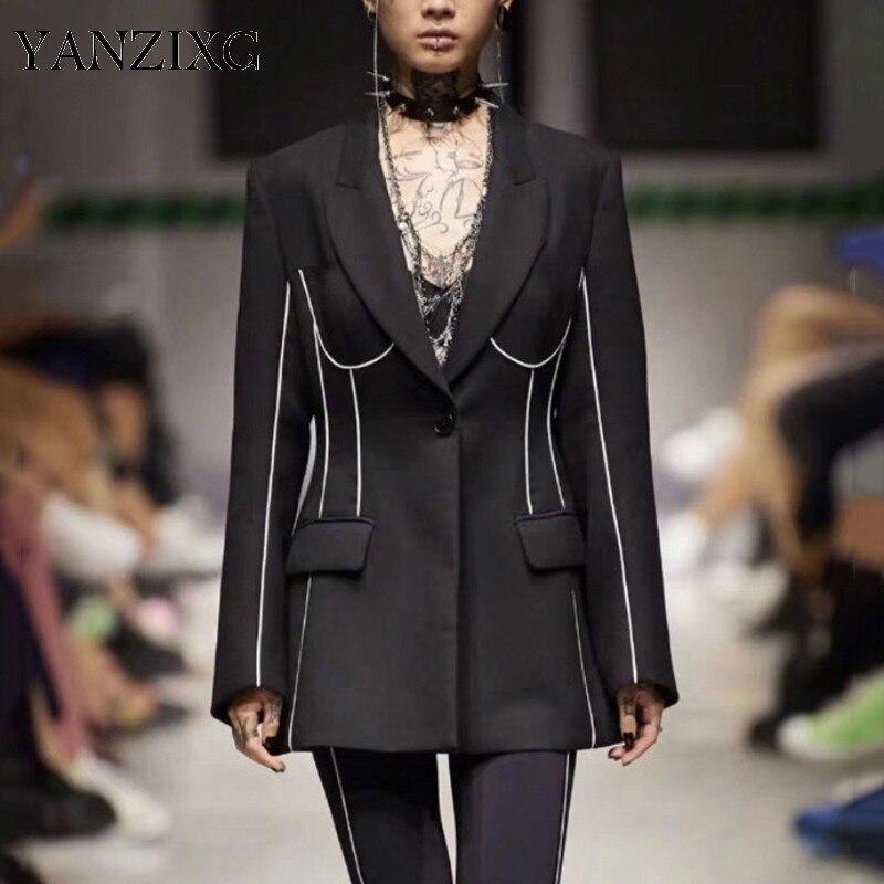 Elegant Striped Women's Blazer Notched Collar Long Sleeve Pocket OL Style Coat Female Autumn Fashion New Clothes 2019 L693