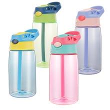 480ML Kids Sports Water Bottle with Straw Bottles Bpa Free No Phthalate Tritan Baby Lemon Juice Outdoor Drinkware