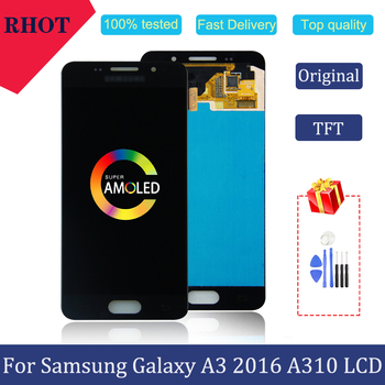 100% tested original 4.7AMOLED A3 2016 A310 LCD monitor for Samsung Galaxy A3 2016 A310 A310F A3100 touch screen LCD assembly защитное стекло partner для samsung a3 2016 a310 твердость 9h