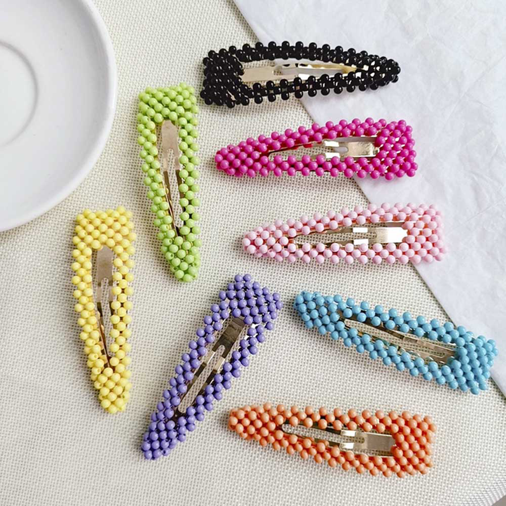 1 pc Korea Fashion Fluorescent Color Frosted Beads Fairy BB Clip Student Girl Simple Cute Beading Hairpins Hair Accessories in Women 39 s Hair Accessories from Apparel Accessories