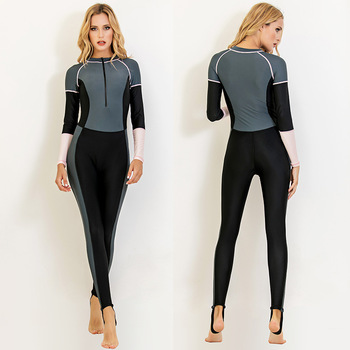 Sbart New Women's One-piece Diving Suit Sun-resistant Long-sleeved Swimsuit Snorkeling Suit Slimming Slim Fit Conservative
