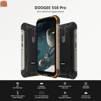 Купить DOOGEE S58 Pro 6 ГБ + 64 ГБ Android 10 NFC Смартфон Мобильный Телефон IP68/IP69K водонепроницаемый прочный телефон 5180 мАч 5,71 дюймFHD + дисплей