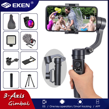 EKEN H8 3-Axis Pocket Foldable Handheld Gimbal Stabilizer w/Focus Pull & Zoom for iPhone Xs Xr X 8 Plus 7 Samsung Action Camera