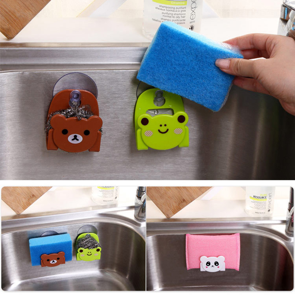 Kitchen Sink Sponge Dish Cloth Scrubbers Holder Cartoon With Strong Suction Cup  Kitchen Organizer