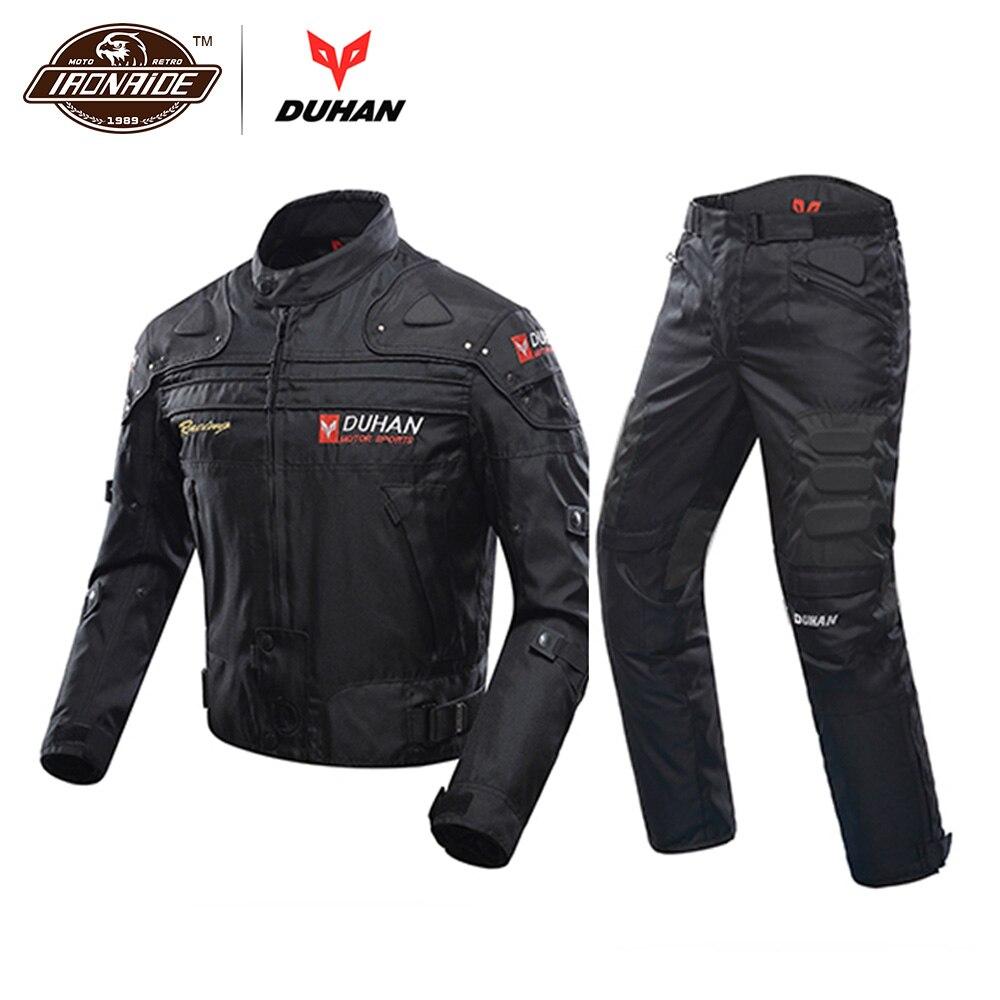 דוחאן Windproof אופנוע חליפת מירוץ ציוד מגן שריון אופנוע + אופנוע מכנסיים ירך מגן Moto בגדי סט
