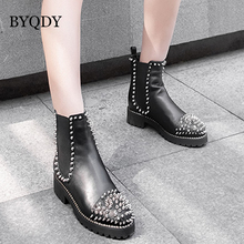 BYQDY Women Ankle Boots Sexy Rivets Short Boots Square Toe Thick Heel Buckle Zipper Short Plush Luxury Brand Boots Plus Size 43 red ankle boots studded rivets military boots designer shoes women luxury 2018 short combat cowboy boots womens buckle strap
