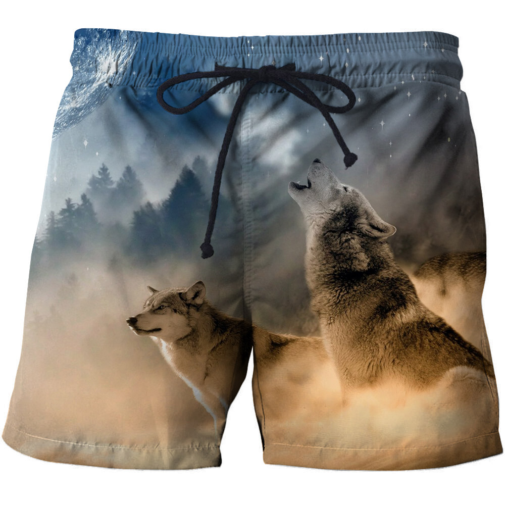 3d Printed Wolf Mens Popular Summer Beach Pants Breathable Swim Trunks Board Shorts