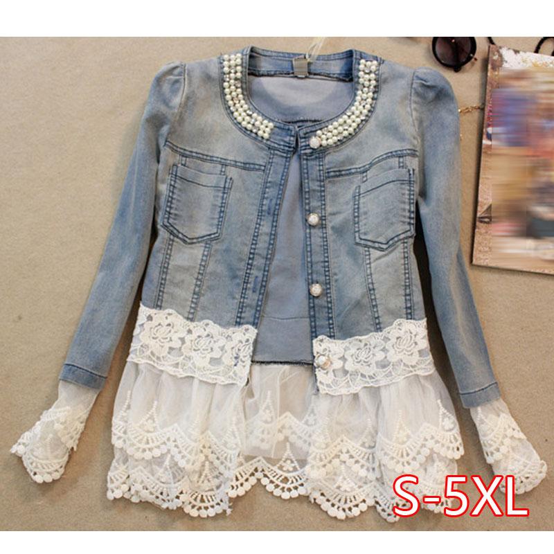 Women's Denim Jacket Lace Patchwork Pearl Slim Long-Sleeve Denim Jacket Lady Vintage Coat Plus Size 5XL Women Outerwear