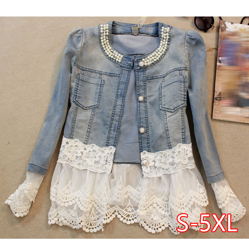 Women's Denim Jacket Lace Patchwork Pearl Slim Long-Sleeve Denim Jacket Lady Vintage Coat Plus Size 5XL Women Outerwear