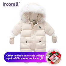 Ircomll Thick Warm Infant Baby Jumpsuit Hooded Inside Fleece Boy Girl Winter Autumn Overalls Children Outerwear Kids Snowsuit
