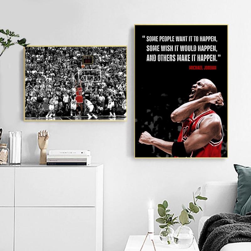 Баскетбольный плакат Джордан последний снимок печать Джордан Современная фотография спорт, настенное Искусство Холст Картина для мальчик...