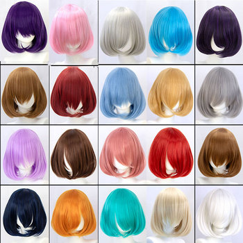 synthetic straight pink short bob wig cosplay wigs for women with bangs red blue purple MUMUPI sayosamonji inclined bang fluffy natural straight gorgeous blue short cosplay wig with bunches