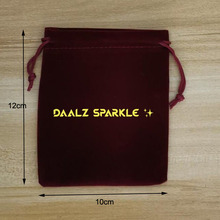 Pouches Customise Logo Velvet Red with by Fedex 10x12cm Bags Screen-Printed Drawstring