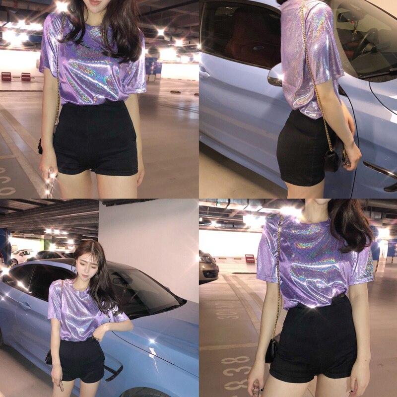 Womens Casual T-Shirt Colors Reflective Printed Short Sleeve Hip Hop Tee Shirt SER88