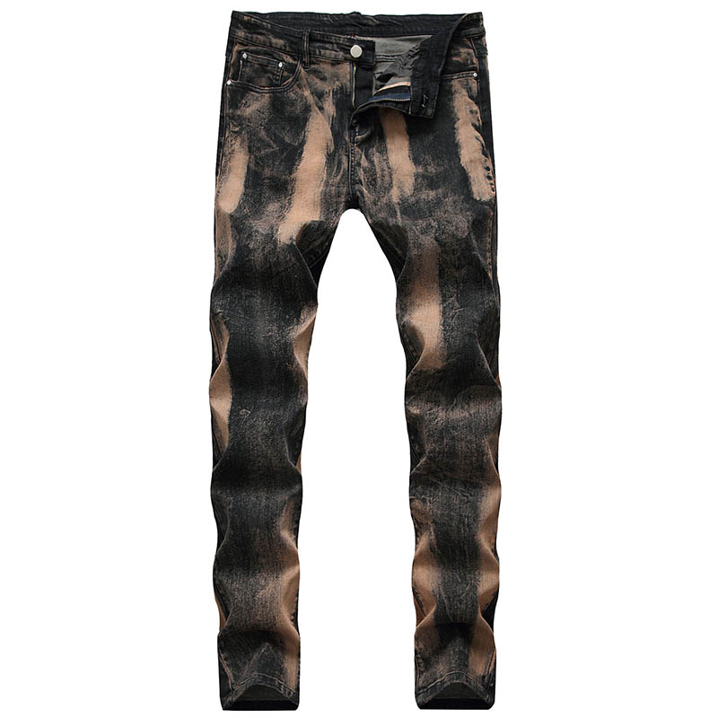 KIOVNO Men's Painted Denim Trousers Slim Fit Stretch Jeans Pants For Male Washed Size 29-42