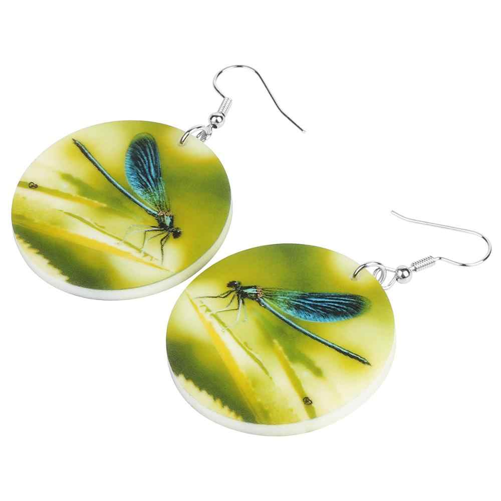 Bonsny อะคริลิคสีเขียว Damselfly DRAGONFLY ต่างหูใหญ่พิมพ์แมลงสัตว์ Dangle DROP เครื่องประดับสำหรับผู้หญิง Charm ของขวัญ