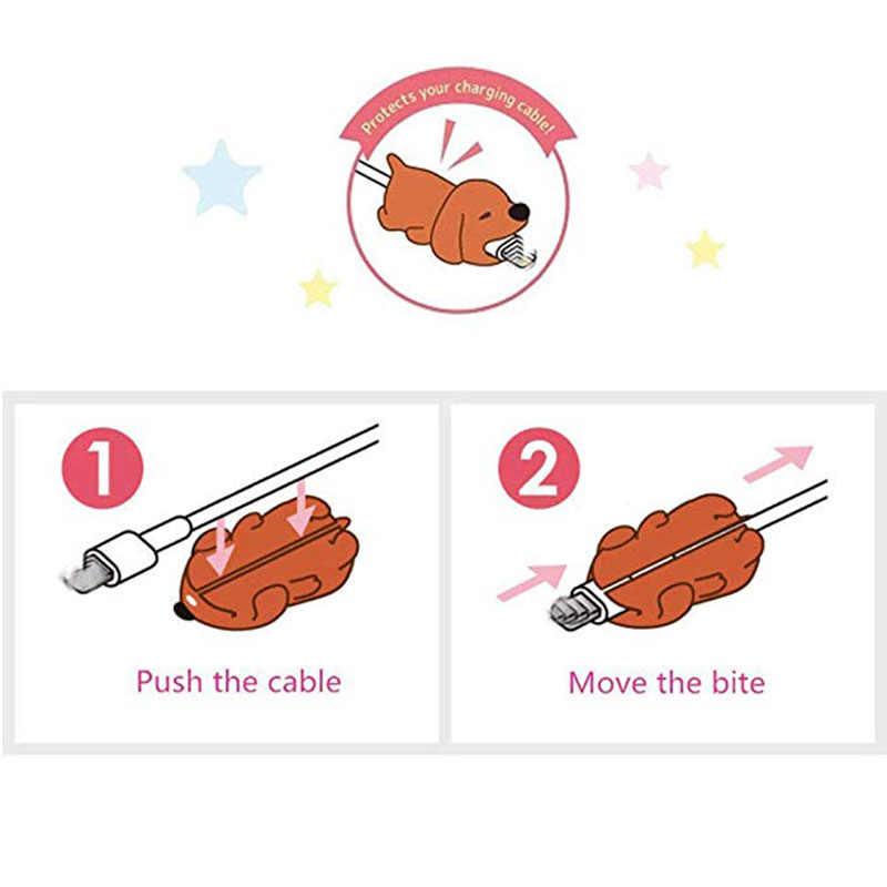 Kartun Panda Kucing Hiu Menggigit Pelindung Kabel Data Kabel Pelindung Kabel Winder Cover UNTUK iPhone Kabel Pengisian USB