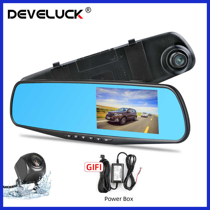 Develuck Full HD 1080P Mobil DVR Kamera Auto Kaca Spion Dash Digital Video 4.3 Inci Perekam Dual Lensa Registratory camcorder