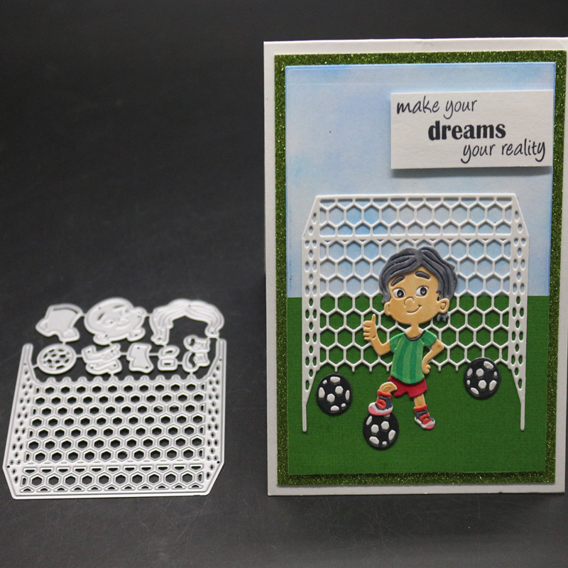 Football Boy <font><b>Christmas</b></font> Metal <font><b>Cutting</b></font> <font><b>Dies</b></font> Stencil Goal Net Frame <font><b>Die</b></font> Cut Scrapbooking Embossing Stamps And <font><b>Dies</b></font> 2019 New Craft image