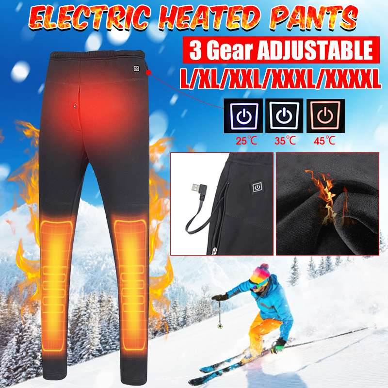 NEW Electric Heated Warm Pants Men Women USB Heating Base Layer Elastic Trousers Insulated Heated Trousers for Camping Hiking