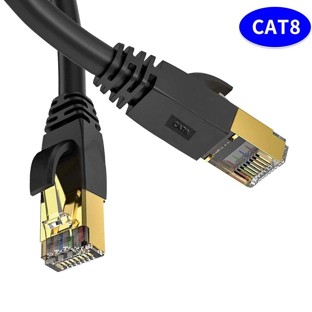 Ethernet-Кабель Cat 8, сетевой кабель Cat8 Rj45, скоростной сетевой кабель 40 Гбит/с, 2000 МГц, 26AWG, 1 м, 2 м, 3 м, 5 м, 10 м, 20 м, 30 м для Модемов маршрутизатора