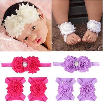 Diademas DE FLOR DE Gasa desgastadas suaves para recién nacidos y bebés con zapatilla, sandalias descalzas, juegos de accesorios para fotos de niños
