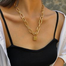 Vintage Metallic Golden Large Chain Lock Necklace Women's Jewelry Gift(China)