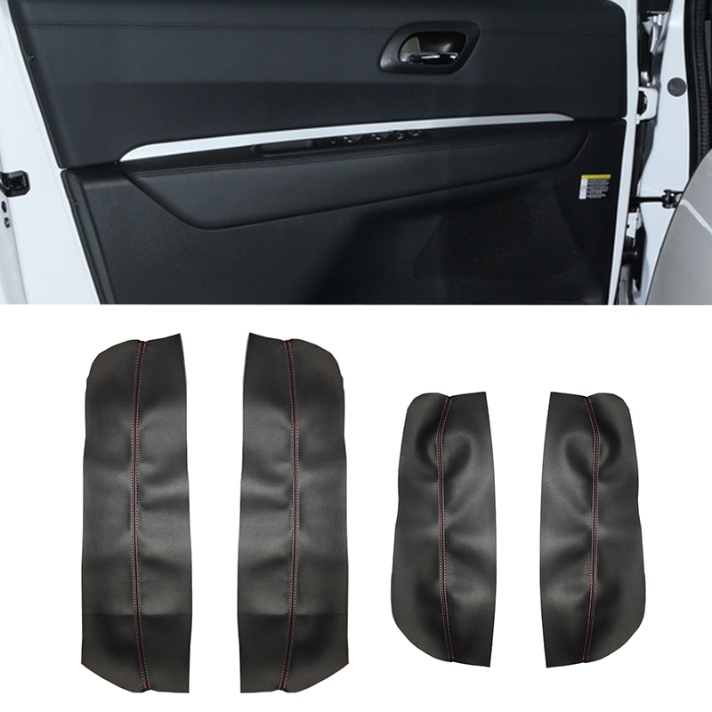 For Peugeot 3008 2011 2012 4pcs Microfiber Leather Car Interior Door Armrest Panel Cover Trim image