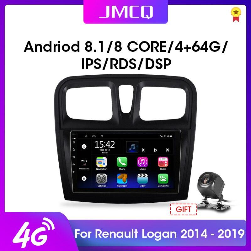 Jmcq 2din 2G + 32G Android 10 Dsp Autoradio Multimidia Video Speler Voor Renault Logan 2 Sandero 2 2012-2019 Navigatie Gps 2 Din