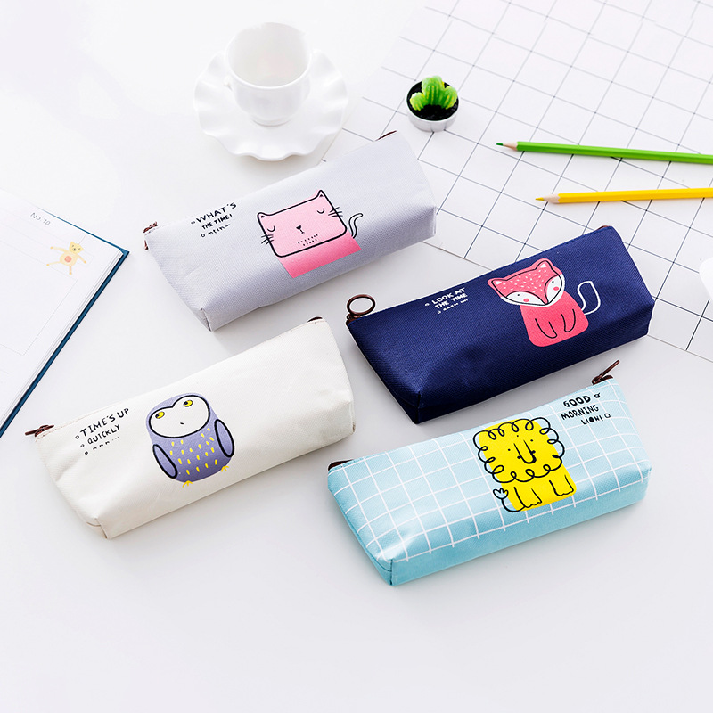 Cute Animal Pencil Case School Pencil Case For Girls Boys Student Stationery Canvas  Zipper Pencil Bag