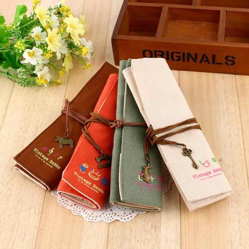 22*19cm Korean Stationery Pencil Bag Canvas Personality Curling Pen Bag Creative Canvas Curtain Elegant Makeup Pencil Case
