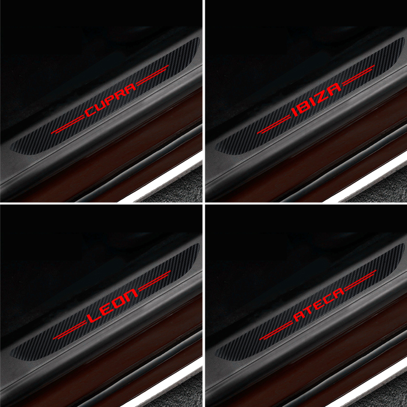 4PCS Waterproof Carbon Fiber Sticker Protective For Seat FR+ Leon Ibiza Cupra Ateca Car Accessories Automobiles
