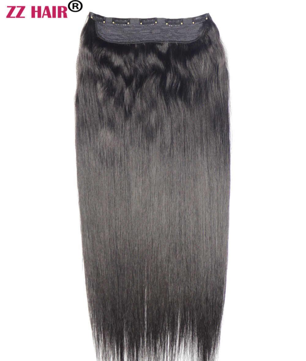 ZZHAIR 220g 30 מכונת אינץ רמי שיער חתיכה אחת סט 5 קליפים 100% שיער טבעי הרחבות 1pcs שיער טבעי ישר