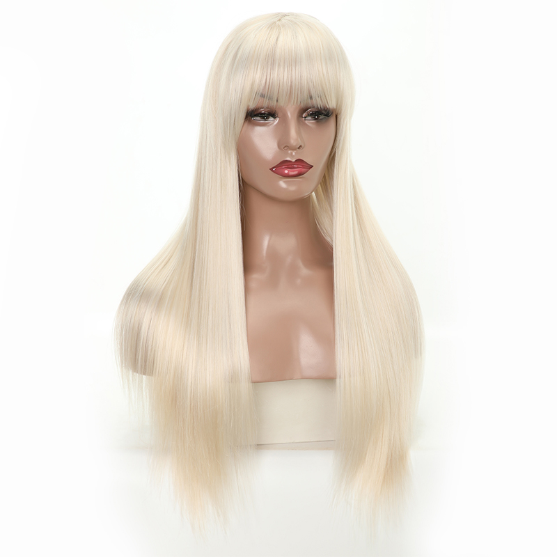 MERISI HAIR Long Straight Blonde Wig With Bangs Heat Resistant Synthetic Wigs For Women African American Fake Hair Pink Black