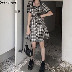 Sukienka z krótkim rękawem damska chusta z kwadratowym kołnierzem guzik na rękawie sukienki ze sznurkiem klasyczne dziewczyny w stylu koreańskim eleganckie Ulzzang