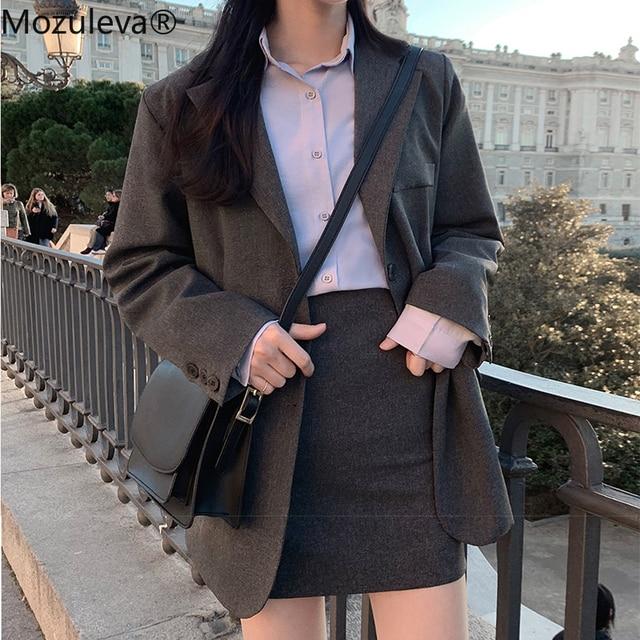 Mozuleva 2020 Retro Solid Blazer Set Single-breasted Jacket & Pencil Skirt 2 Pieces Skirt Suit Female Office Ladies Blazer Suit 3