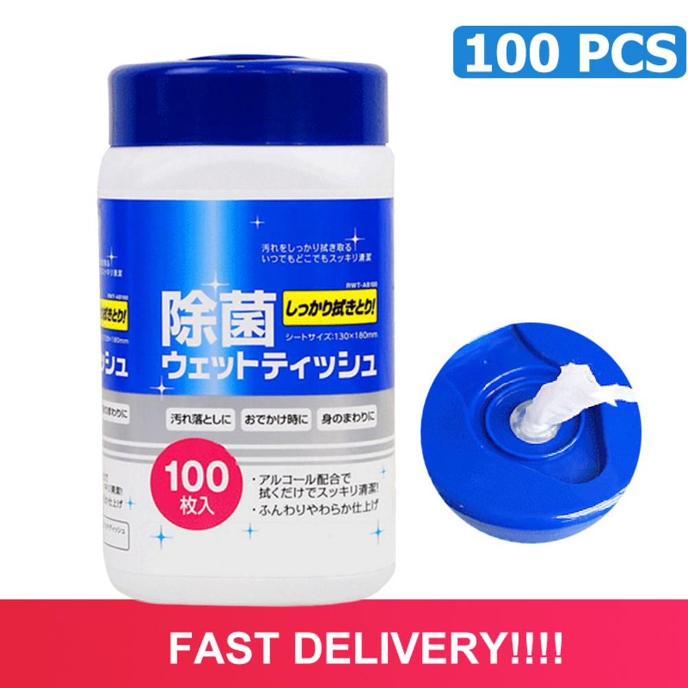 100PCS Alcohol Wet Wipe Disposable Disinfection Car Home Cleaning Wet Wipes Hand Portable Wipe Antiseptic Skin Cleaning