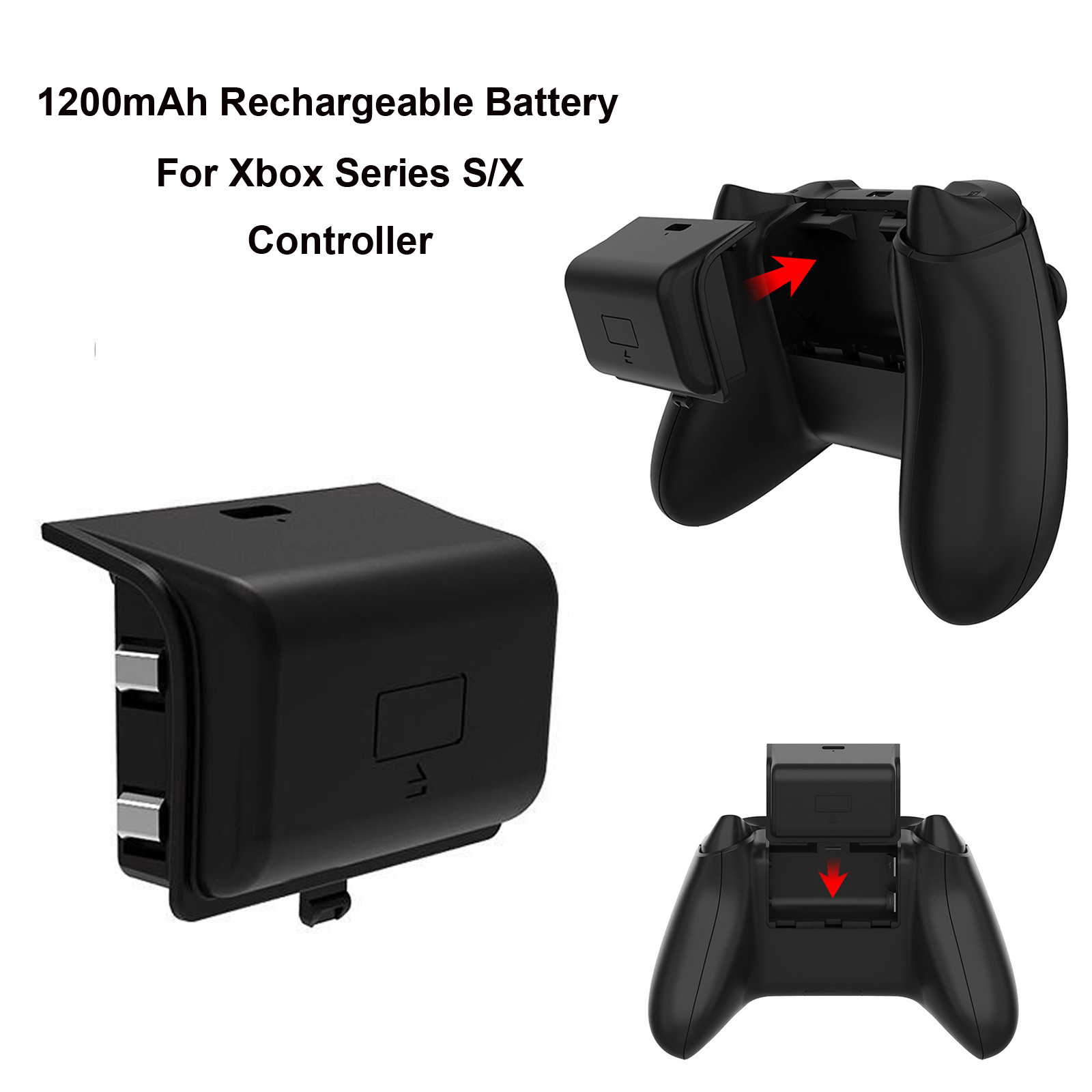 Livraison gratuite batterie pour Xbox série S/x contrôleur, 1200mah batterie Rechargeable Paquete de batería con asa inalámbrica