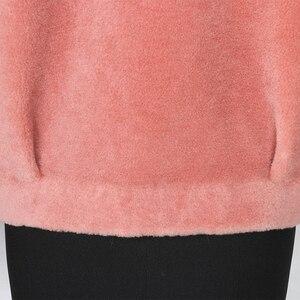 Image 5 - Nerazzurri Winter real fur coat women Short sheep wool jackets Genuine lamb shearling coats fluffy jacket Fur jackets for women